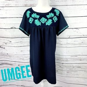 Umgee Navy & Turquoise Embroidered Shift Dress